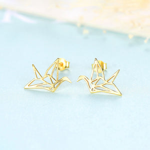 925 Sterling Silver Simple and Elegant Hollow Swallow Stud Earrings