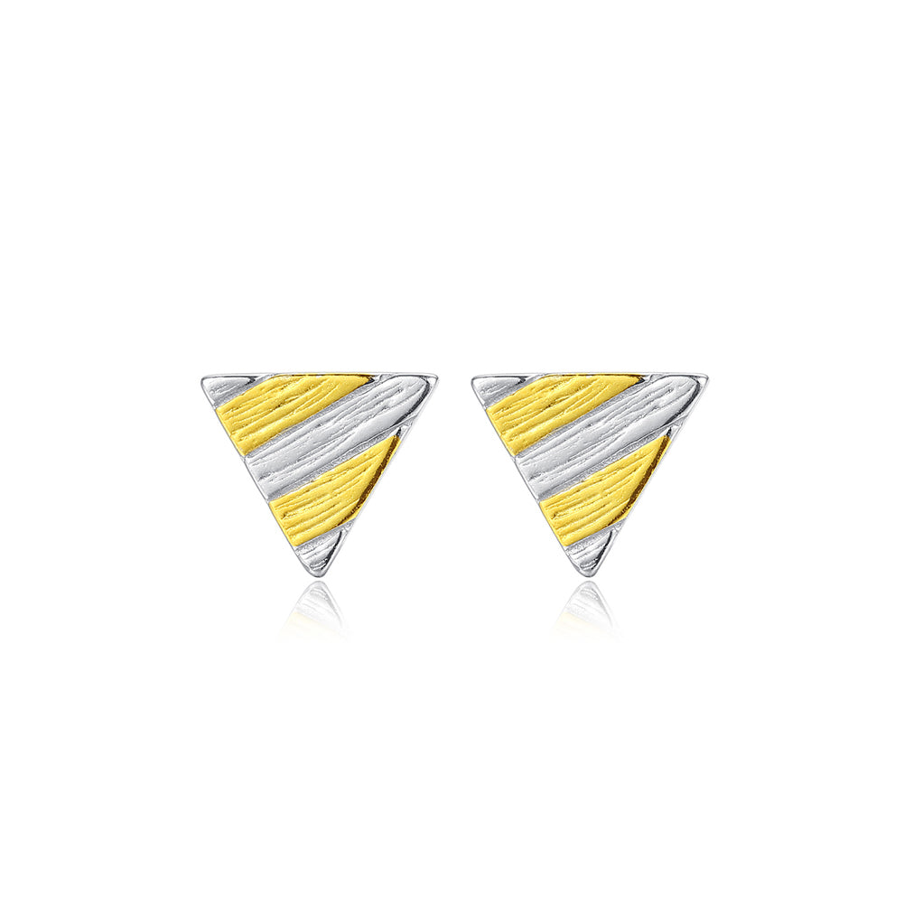 925 Sterling Silver Simple and Fashion Two-color Geometric Triangle Stud Earrings