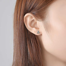 Load image into Gallery viewer, 925 Sterling Silver Simple and Fashion Two-color Geometric Triangle Stud Earrings