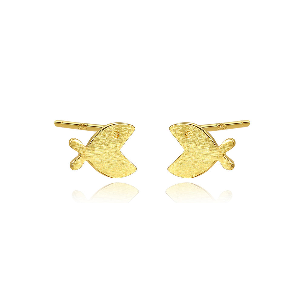 925 Sterling Silver Plated Gold Simple Cute Fish Stud Earrings