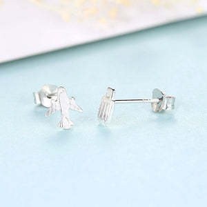 925 Sterling Silver Simple Personality Aircraft Luggage Asymmetrical Stud Earrings