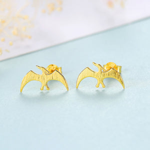 925 Sterling Silver Plated Gold Simple Fashion Archaeopteryx Stud Earrings