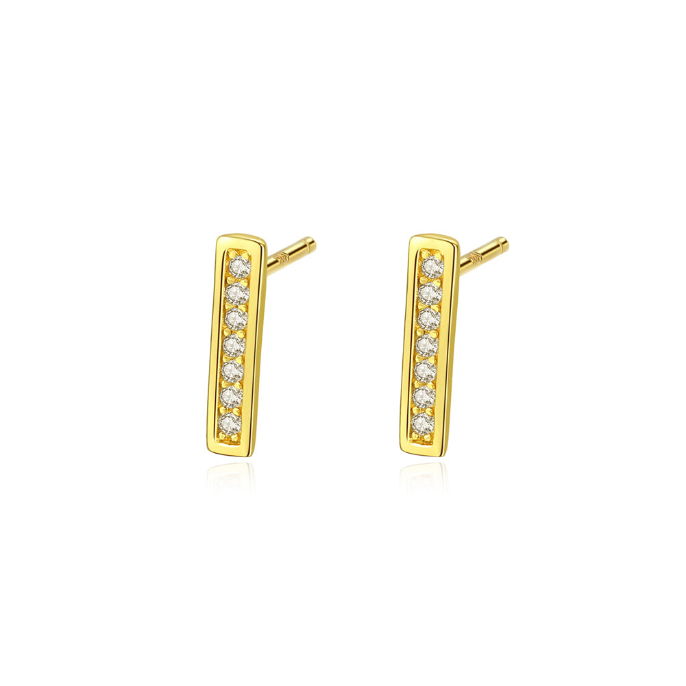 925 Sterling Silver Plated Gold Simple Fashion Geometric Rectangular Cubic Zirconia Stud Earrings