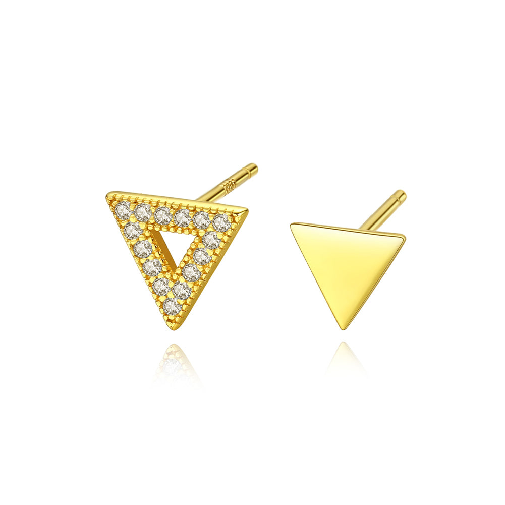 925 Sterling Silver Plated Gold Simple Fashion Geometric Triangle Cubic Zirconia Stud Earrings