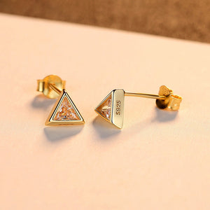925 Sterling Silver Plated Gold Simple and Fashion Geometric Triangle Stud Earrings