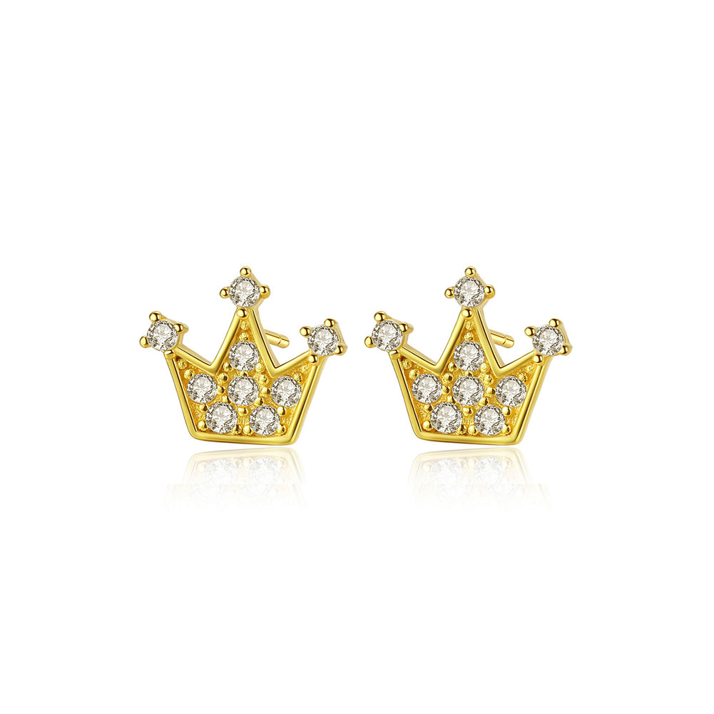 925 Sterling Silver Plated Gold Fashion Personality Crown Cubic Zirconia Stud Earrings