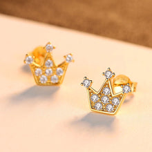 Load image into Gallery viewer, 925 Sterling Silver Plated Gold Fashion Personality Crown Cubic Zirconia Stud Earrings