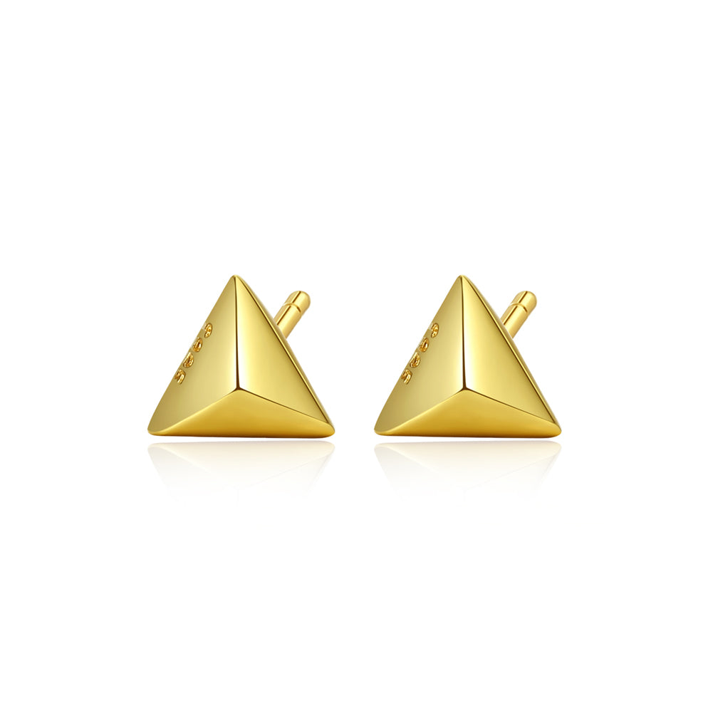 925 Sterling Silver Plated Gold Simple Fashion Geometric Triangle Stud Earrings