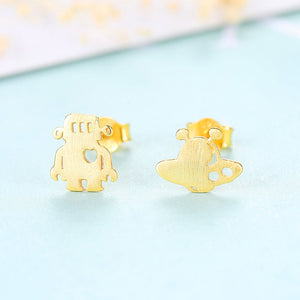 925 Sterling Silver Plated Gold Fashion Creative Alien Spaceship Asymmetric Stud Earrings