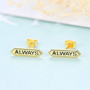 925 Sterling Silver Plated Gold Fashion Simple ALWAYS Geometric Stud Earrings
