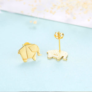 925 Sterling Silver Plated Gold Simple and Fashion Elephant Stud Earrings