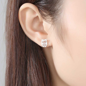 925 Sterling Silver Simple Creative Owl Moon Asymmetric Stud Earrings