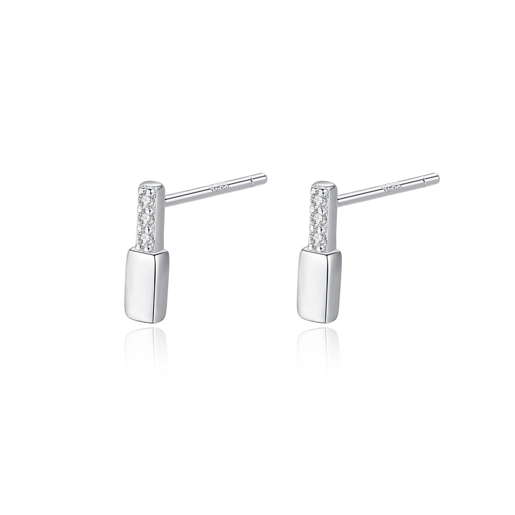 925 Sterling Silver Simple and Delicate Geometric Rectangular Cubic Zirconia Stud Earrings