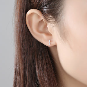 925 Sterling Silver Fashion Simple Geometric Triangle Stud Earrings with Cubic Zirconia