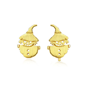 925 Sterling Silver Plated Gold Fashion Creative Scarecrow Stud Earrings