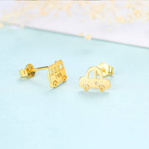 925 Sterling Silver Plated Gold Fashionable Cute Car Asymmetrical Stud Earrings