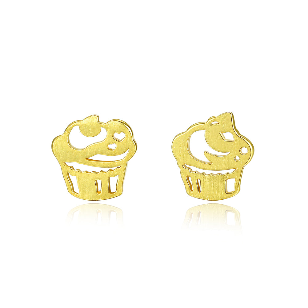 925 Sterling Silver Plated Gold Fashion Sweet Ice Cream Asymmetric Stud Earrings