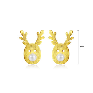 925 Sterling Silver Plated Gold Simple Cute Deer Fashion Pearl Stud Earrings