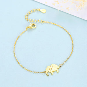 925 Sterling Silver Plated Gold Simple Fashion Elephant Bracelet