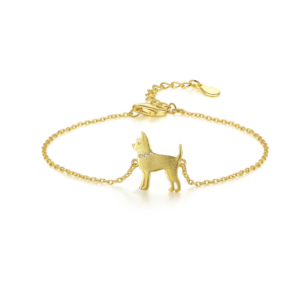 925 Sterling Silver Plated Gold Simple Cute Puppy Bracelet with Cubic Zirconia