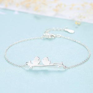 925 Sterling Silver Simple Romantic Double Bird Geometric Bracelet
