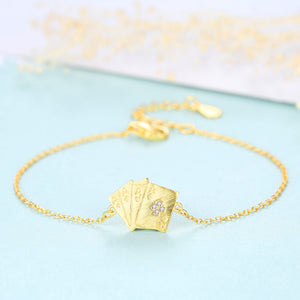 925 Sterling Silver Plated Gold Simple Fashion Poker Cubic Zirconia Bracelet