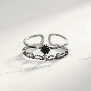 925Sterling Silver Simple Fashion Black Cubic Zirconia Geometric Round Adjustable Open Ring