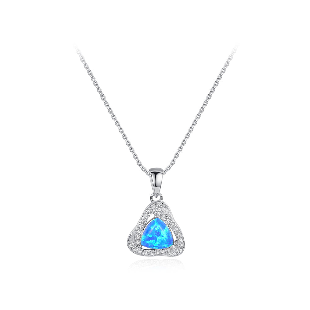 925 Sterling Silver Fashion Elegant Geometric Triangle Pendant with Blue Imitation Opal and Necklace
