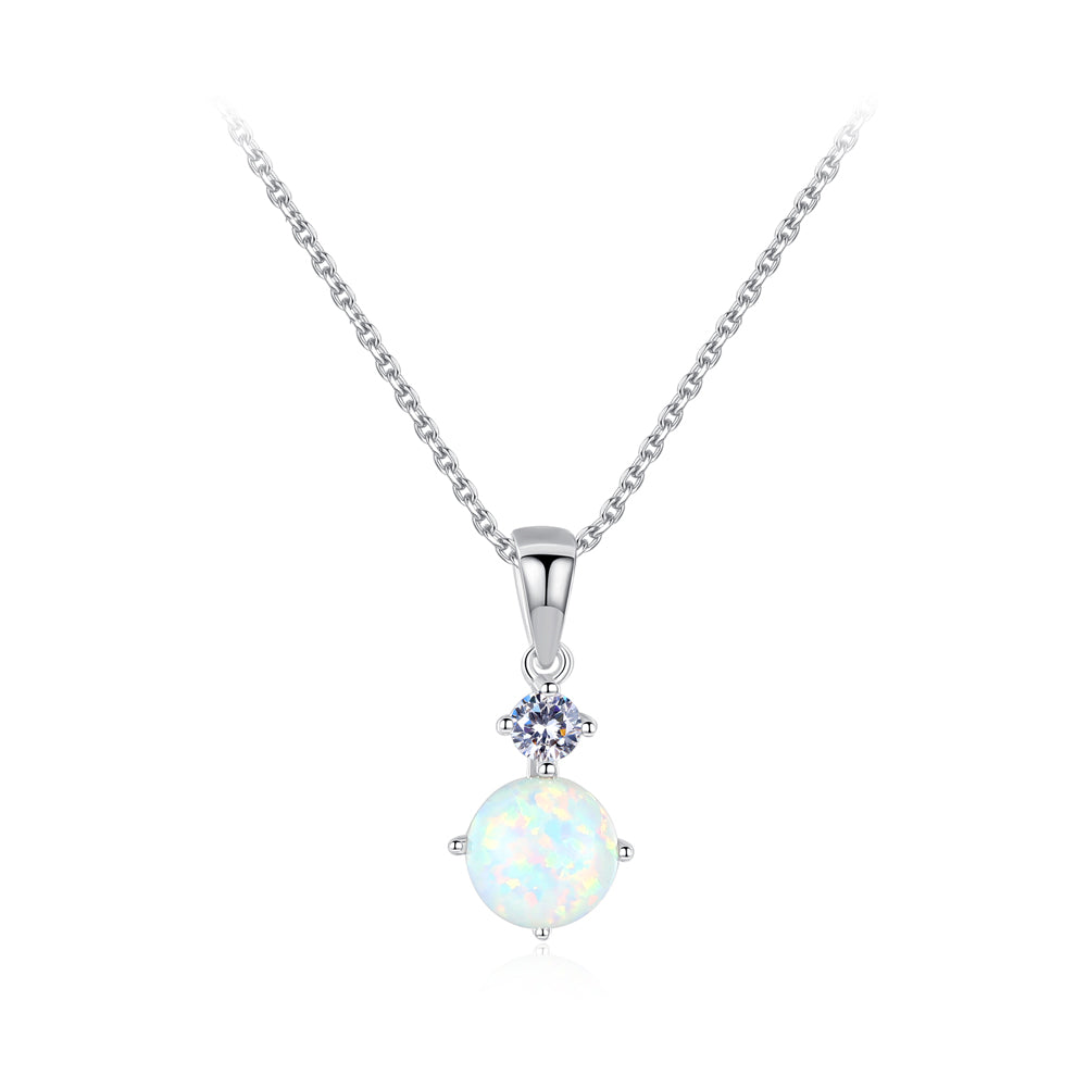 925 Sterling Silver Fashion Simple Round Artificial White Opal Pendant with Cubic Zirconia and Necklace