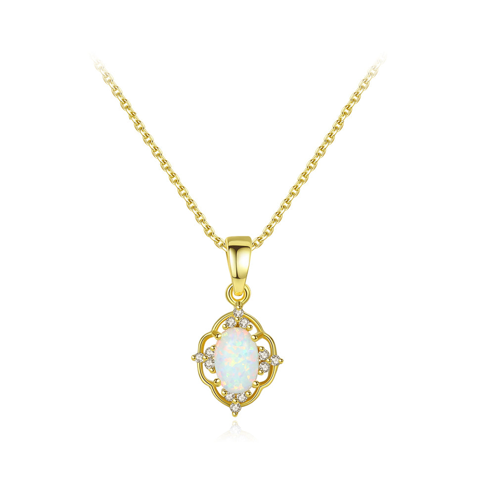 925 Sterling Silver Plated Gold Vintage Fashion Pattern White Imitation Opal Pendant with Cubic Zirconia and Necklace
