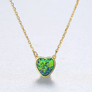 925 Sterling Silver Plated Gold Simple Romantic Heart-shaped Green Imitation Opal Pendant with Necklace