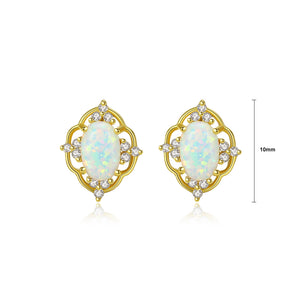 925 Sterling Silver Plated Gold Simple Vintage Fashion Pattern White Imitation Opal Stud Earrings with Cubic Zirconia