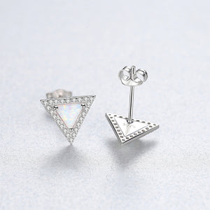 925 Sterling Silver Simple and Fashion Geometric Triangle White Imitation Opal Studs with Cubic Zirconia