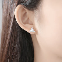 Load image into Gallery viewer, 925 Sterling Silver Simple and Fashion Geometric Triangle White Imitation Opal Studs with Cubic Zirconia