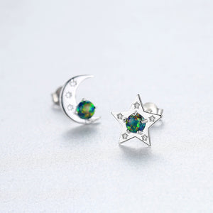 925 Sterling Silver Fashion Simple Star Moon Green Imitation Opal Earrings with Cubic Zirconia