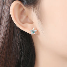Load image into Gallery viewer, 925 Sterling Silver Fashion Simple Star Moon Green Imitation Opal Earrings with Cubic Zirconia