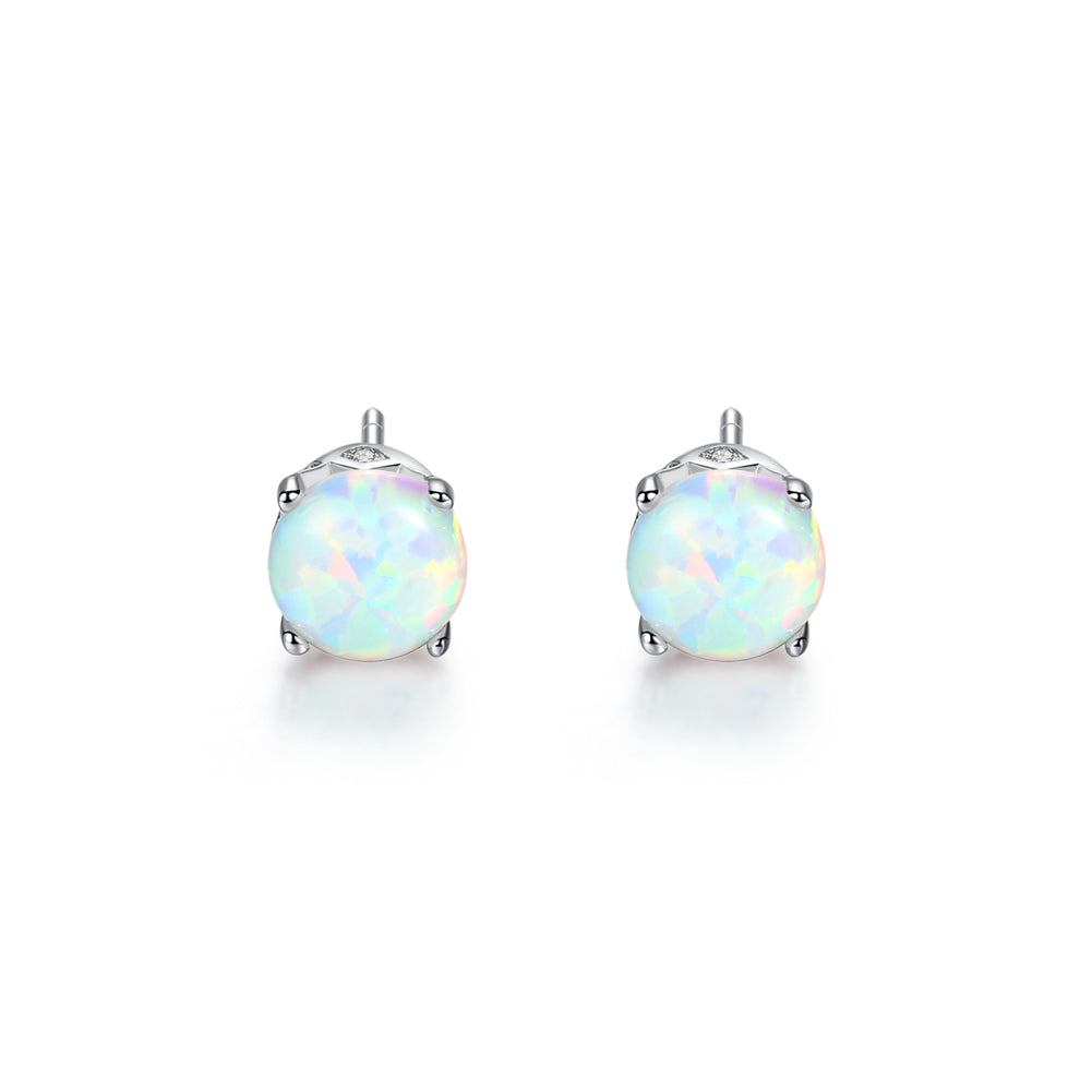 925 Sterling Silver Simple Fashion Geometric Round White Imitation Opal Stud Earrings