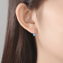 Load image into Gallery viewer, 925 Sterling Silver Simple Fashion Geometric Blue Imitation Opal Stud Earrings with Cubic Zirconia