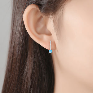 925 Sterling Silver Simple Fashion Geometric Blue Imitation Opal Stud Earrings with Cubic Zirconia