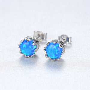 925 Sterling Silver Simple Fashion Geometric Round Blue Imitation Opal Stud Earrings