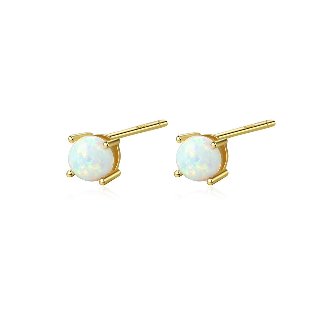 925 Sterling Silver Plated Gold Simple and Delicate Geometric Round White Imitation Opal Stud Earrings