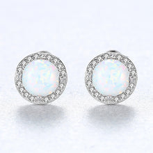 Load image into Gallery viewer, 925 Sterling Silver Simple Fashion Geometric Round White Imitation Opal Stud Earrings with Cubic Zirconia