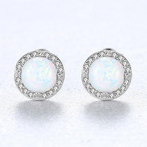 925 Sterling Silver Simple Fashion Geometric Round White Imitation Opal Stud Earrings with Cubic Zirconia
