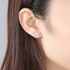 925 Sterling Silver Fashion Bright Geometric Round White Imitation Opal Stud Earrings with Cubic Zirconia
