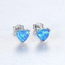 Load image into Gallery viewer, 925 Sterling Silver Simple Sweet Heart Stud Earrings with Blue Imitation Opal