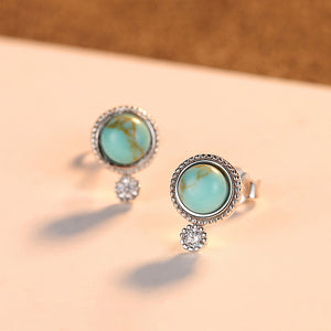 925 Sterling Silver Simple and Fashion Geometric Round Stud Earrings with Turquoise and Cubic Zirconia