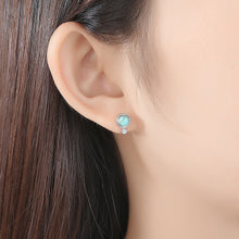 Load image into Gallery viewer, 925 Sterling Silver Simple and Fashion Geometric Round Stud Earrings with Turquoise and Cubic Zirconia