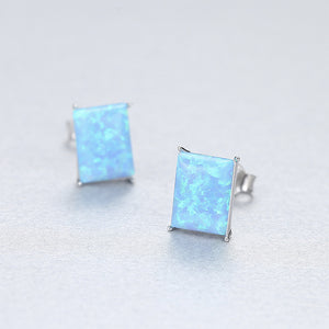 925 Sterling Silver Simple Fashion Geometric Rectangular Blue Imitation Opal Stud Earrings