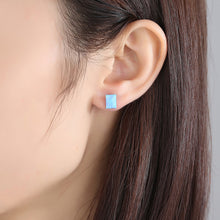 Load image into Gallery viewer, 925 Sterling Silver Simple Fashion Geometric Rectangular Blue Imitation Opal Stud Earrings