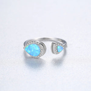 925 Sterling Silver Fashion Simple Water Drop-shaped Blue Imitation Opal Adjustable Open Ring with Cubic Zirconia